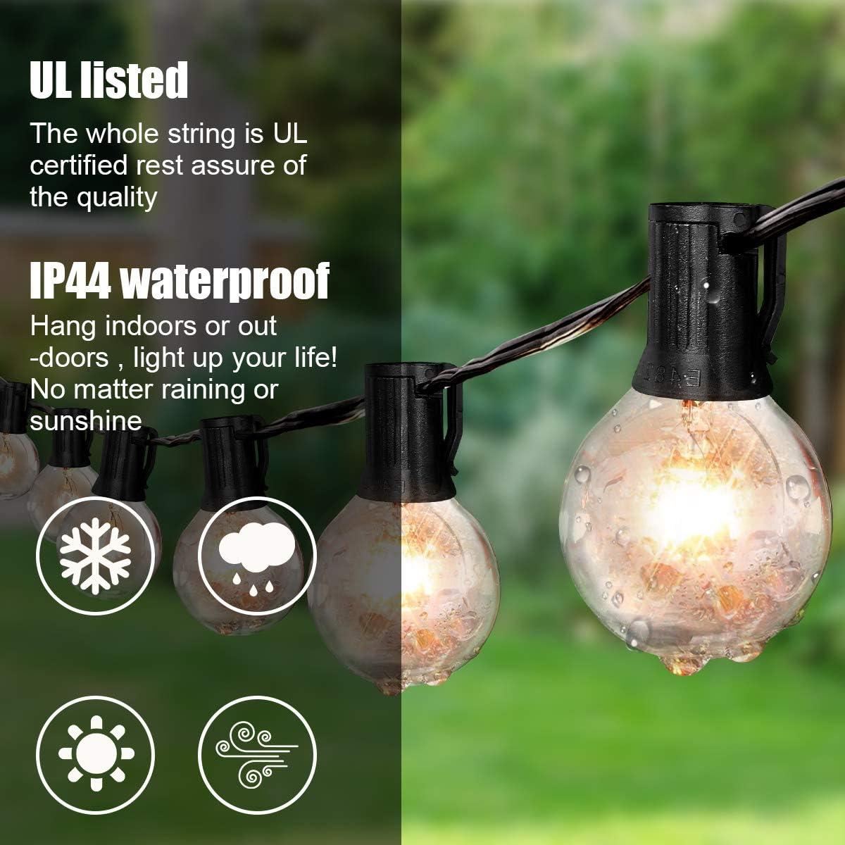 Waterproof Backyard Patio for VAVOFO Outdoor String Lights with G40 Globe Bulbs