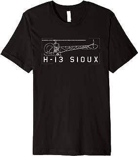 H-13 Sioux Korean War Helicopter Vintage Blueprint Gift Premium T-Shirt