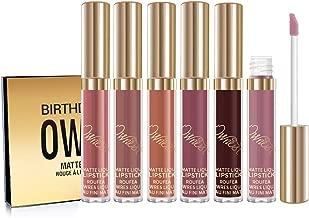 Ownest 6pcs Matte Velvety Liquid Lipstick Matte Liquid Lipgloss Waterproof Lip Gloss brithday editio