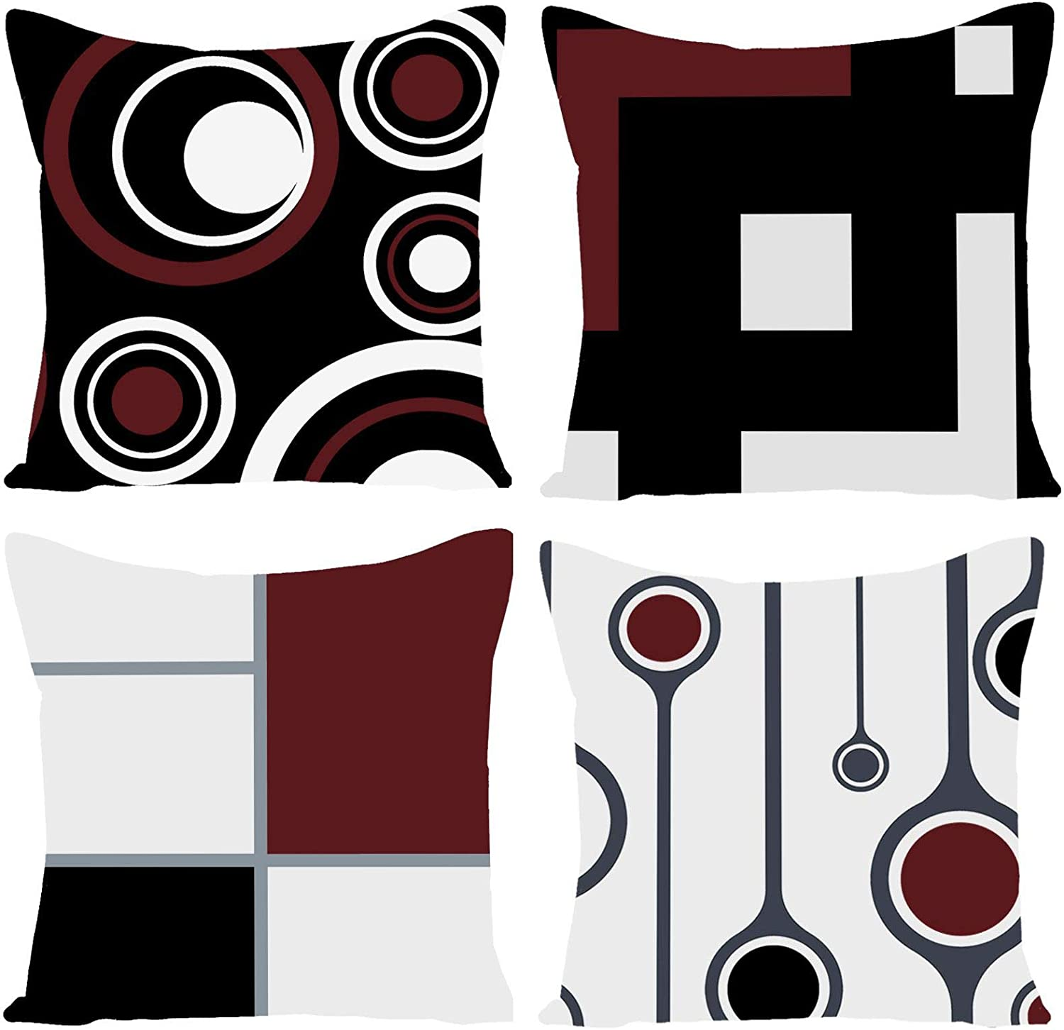 EZVING Set New product of 4 White Black Red T Geometric Modern Abstract Wine 4 years warranty