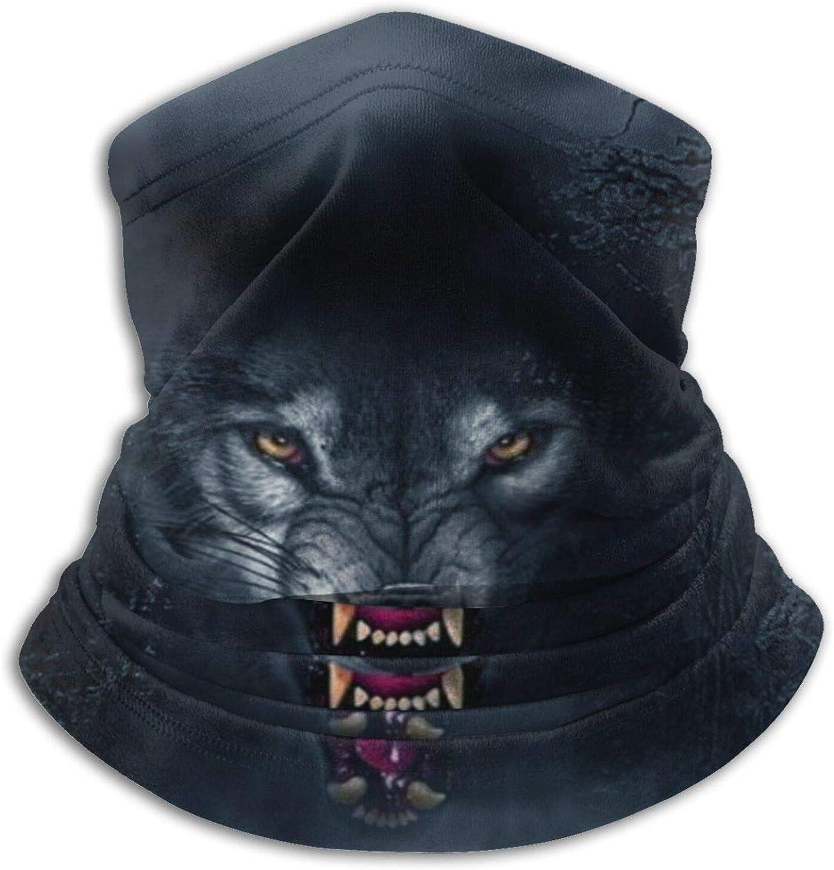 Winter Neck Gaiter Warmer Soft Face Mask Scarf Wolf Evil Dark Outdoor Sports Neck Warmer Headwear for Men Women Black