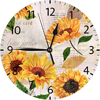 Stylish 3D Sunflowers on Newspaper Vintage Round Wall Clock Battery Operated Quartz Analog Quiet Home Kitchen Decor Wall C...