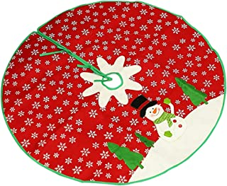 Red Christmas Tree Skirt Large Xmas Tree Skirt with White Snowman and Snowflake Design Round Indoor Outdoor Mat for Christmas Party Holiday Decorations(40 Inches)