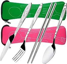 8 Pieces Flatware Sets Knife, Fork, Spoon, Chopsticks, SENHAI 2 Pack Rustproof Stainless Steel Tableware Dinnerware with C...