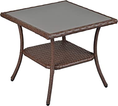 SUNVIVI OUTDOOR Outdoor Patio Wicker End Table Rattan Square Glass Top Wicker Coffee Table Side Storage Table, Brown, Aluminum Frame