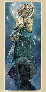 Culturenik Alphonse Mucha Moon Decorative Fine Art Nouveau Print (Unframed 12x24 Poster)