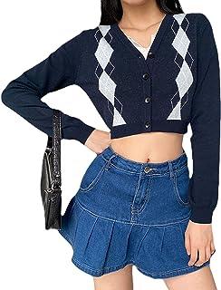 Argyle - Suéter de punto a cuadros Y2k para mujer, de manga larga, cuello en V, indie hadas, informal, ropa estética para ...