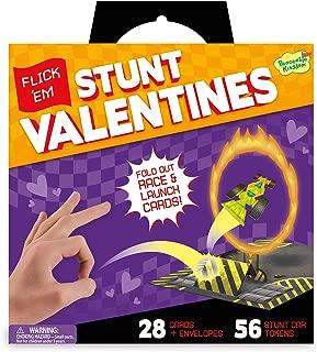 Peaceable Kingdom Flick 'Em Stunt Car Sticker Valentines - 28 Card Pack