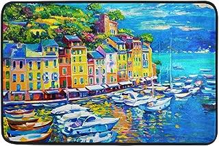 Bikofhd Italia Casa Barco Mar Pintura al óleo Felpudo 15.7 x 23.6, Salón Dormitorio Cocina Baño Decorativo Ligero Espuma Impresa Alfombra