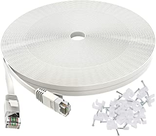 Cat 6 Ethernet Cable 100 ft Flat White, Slim Long Internet Network Lan patch cords, Solid Cat6 High Speed Computer wire wi...