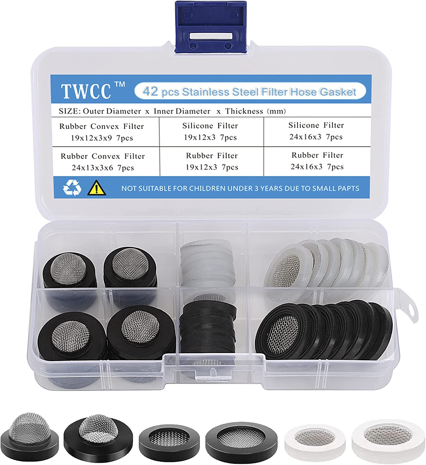 TWCC 42 PCS Stainless Steel Filter Hose Gaskets, Hose Screen Gaskets, for 1/2-inch Shower Heads, 3/4-inch Garden Hoses and Faucet Connectors.