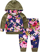 BINPAW Baby Girl's Floral Jogger Outfit, 0 Months - 24 Months
