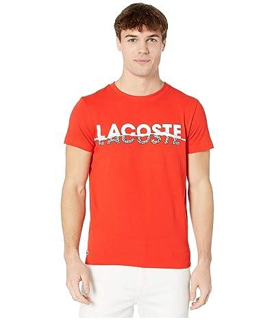 Lacoste Short Sleeve Tear Graphic Tee (Corrida/White/Black/White) Men