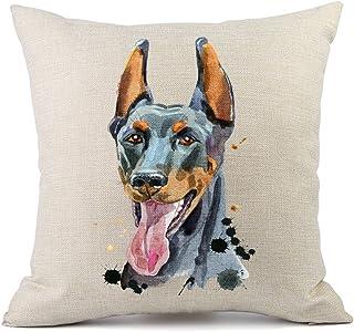 Moyun Cute Pet Doberman Dog Patrón Funda de Cojín de Lino Lin Throw Pillow Case Sofá