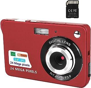 Digitalkamera, 2,4-Zoll-FHD-Taschenkameras Wiederaufladbare 24-Megapixel-Kamera für Rucksacktouren mit 8-Fach Digitalzoom-Kompaktkameras für Fotografie 32-GB-SD-Karte enthalten (red)