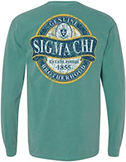 Sigma Chi Fraternity Greek Faded Green Comfort Colors Long Sleeve Pocket Tee