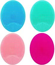 Silicone Face Scrubbers Exfoliator Brush Manual Facial Cleansing Brushes Blackhead Scrubber Exfoliating Brush-Facial Cleansing Pads for All Kinds of Skins (4 PACK)