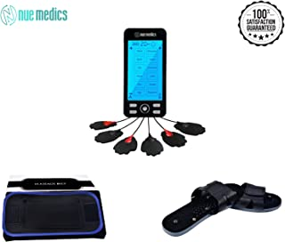 Rechargeable NueMedics Tens 24 Muscle Stimulator Complete Set + Flex Snap on Belt for Lower Back + Reflexology Slippers Pain Relief Therapy Muscle Recovery Arthritis, Bursitis, Tendonitis, Sciatica