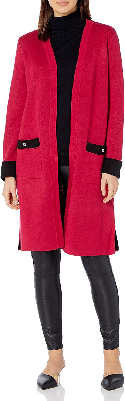 NINE WEST Women's Double Face Jacquard Cardigan Sweater