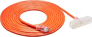 AmazonBasics Outdoor Extension Cord with Lighted 3 Outlets, Orange, 25 Foot