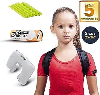 "Posture Corrector Back Brace with Adjustable Straightener for Kids Children Teens Men & Women Posture Corrector Comfortable Orthopedic Sizes: 35-48"" and 25-36"" Comfortable (Black Teens)"