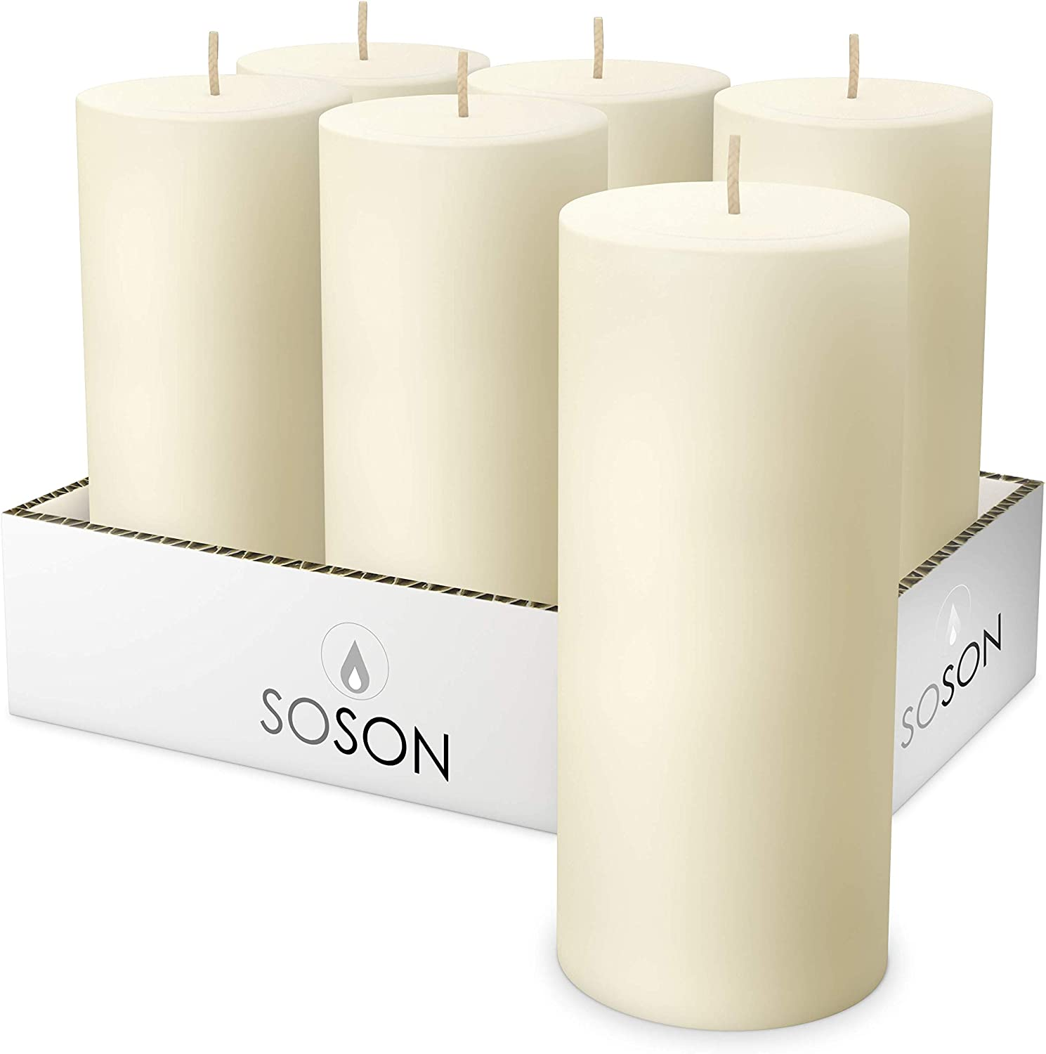 Simply Soson Smooth 3x6 Ivory Candles   Pillar Candles for Home   Unscented Candles & Dripless Pillar Candles   Long Lasting Candles   Large Candle for Home   6 Pack of Candles: Home Improvement