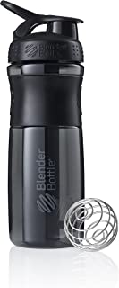 BlenderBottle SportMixer Tritan Grip Shaker Bottle, Transparent Black/Gray, 28-Ounce