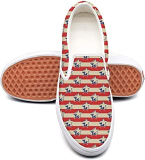 Skate Shoes Canvas Sneakers for Women Slip-on Fashion Classic Retro American Flag