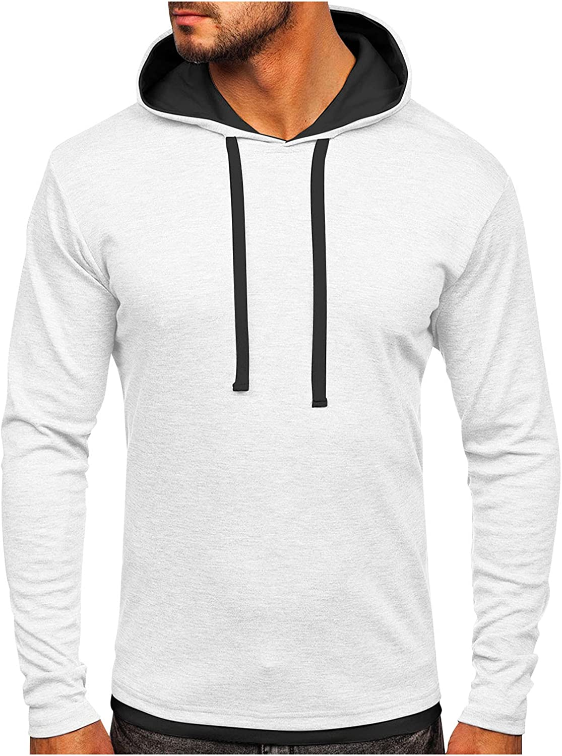 Men's Pullover Hoodie Lightweight Solid Color Hooded Sweatshirt Tops Casual Long Sleeve Patchwork Shirt Blouse