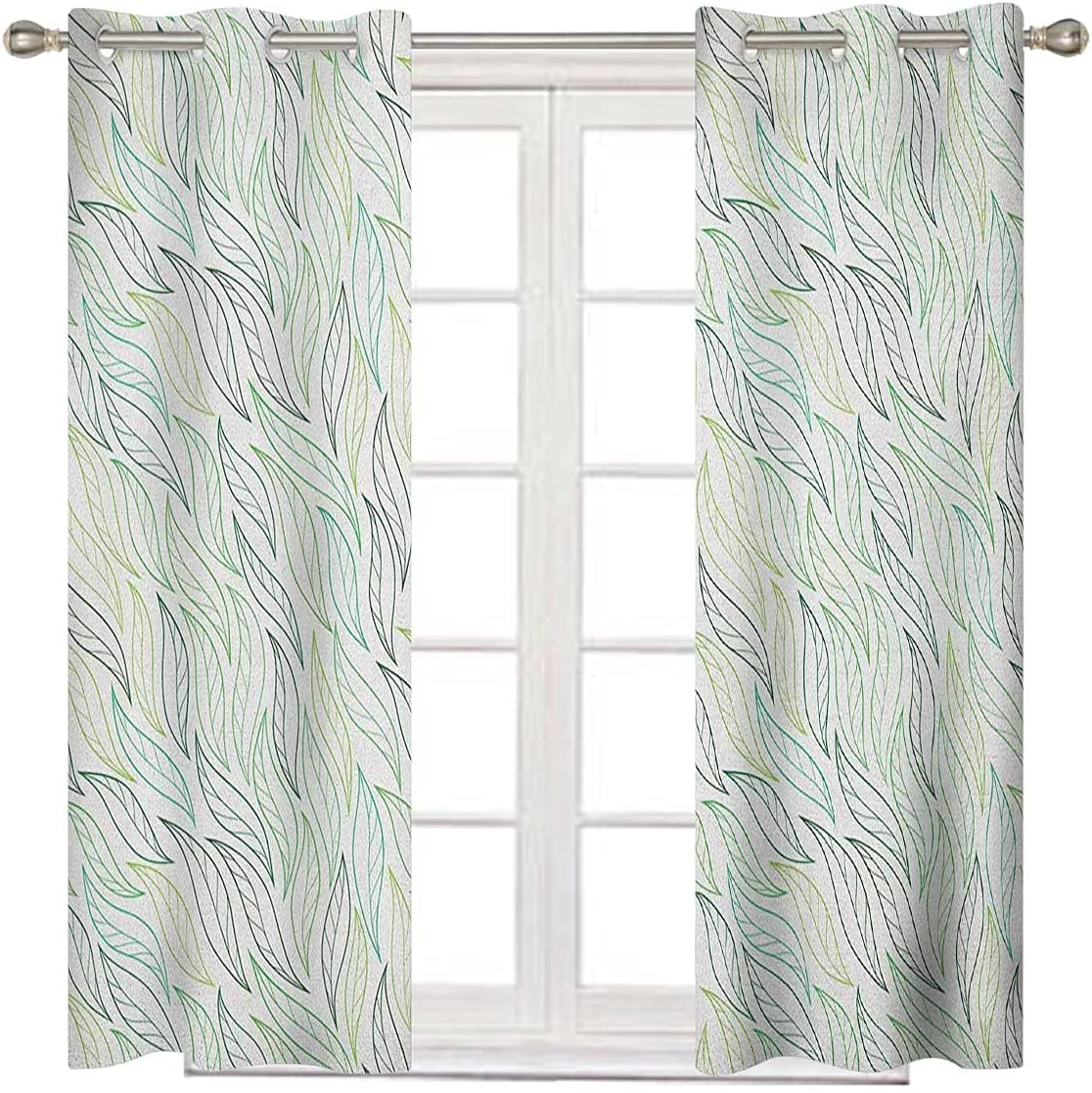 Leaf Outstanding Bedroom Max 44% OFF Blackout Curtains 84 Soft Green Long Inches