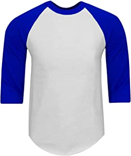 Mens Baseball T Shirts Raglan 3/4 Sleeves Tee Cotton Jersey S-5Xl