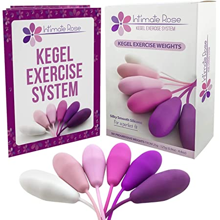 Intimate Rose Kegel Exercise Weights - Doctor Recommended Pelvic Floor Exercises - Set of 6 Premium Silicone Kegel Balls & Control with Training Kit for Women: Beginners & Advanced