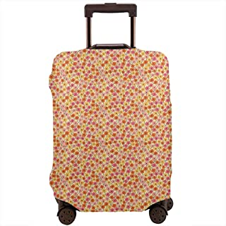 Travel Luggage Cover,Blossoming Nature Growth Botanical Simplistic Spring Time Meadow Suitcase Protector