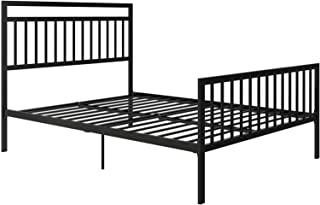 REALROOMS Reina Modern Metal Bed: Queen Black