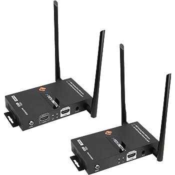 J-Tech Digital HDbitT Series 1X2 Wireless HDMI Extender 200' Dual Antenna Supporting Full HD 1080p with HDMI Loop Output IR Passthrough [JTECH-WEX200]