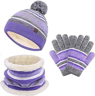 ست دستکش شال گردن بچه گانه کودک نو پا زمستانی گره زنانه گردن گرم کننده گتر 3 ست