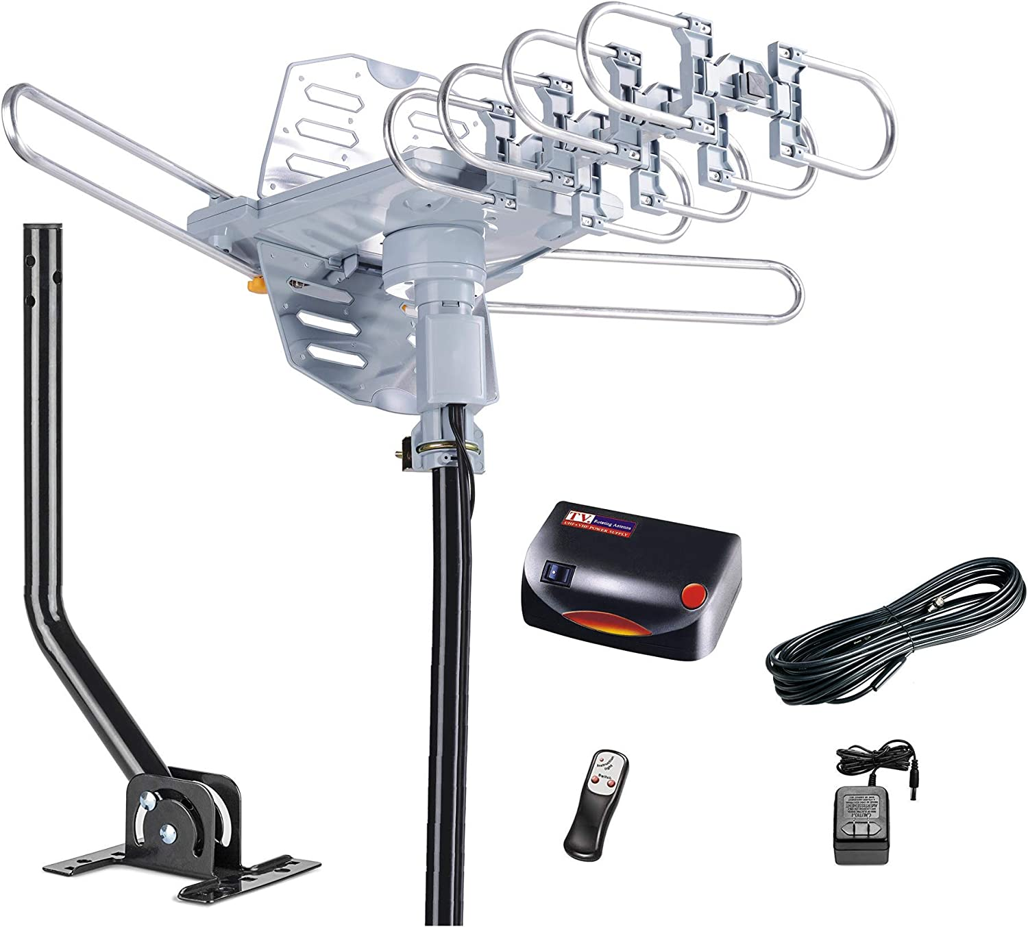McDuory Outdoor 150 Miles Digital Antenna 360 Degree Rotation Amplified HDTV Antenna -Support 2 TVs-UHF/VHF/1080P/4K - Infrared Remote - 40ft RG6 Cable and Mounting Pole Included