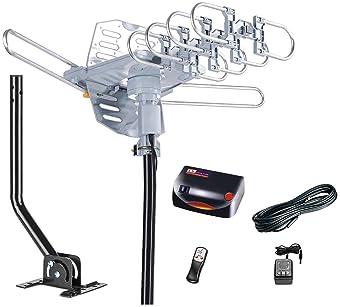 McDuory Outdoor 150 Miles Digital Antenna 360 Degree Rotation Amplified HDTV Antenna -Support 2 TVs-UHF/VHF/1080P/4K ...