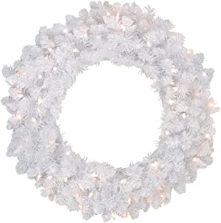Northlight Pre-Lit Flocked Snow White Artificial Christmas Wreath - 36-Inch, Clear Lights