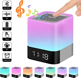 Elecstars Touch Bedside Lamp with Bluetooth Speaker, Dimmable Warm Night Light, Alarm Clock, MP3 Music Player, Table Lamp with 4000mAh Battery, Support TF and SD Card, Gift for Kids Friends Party