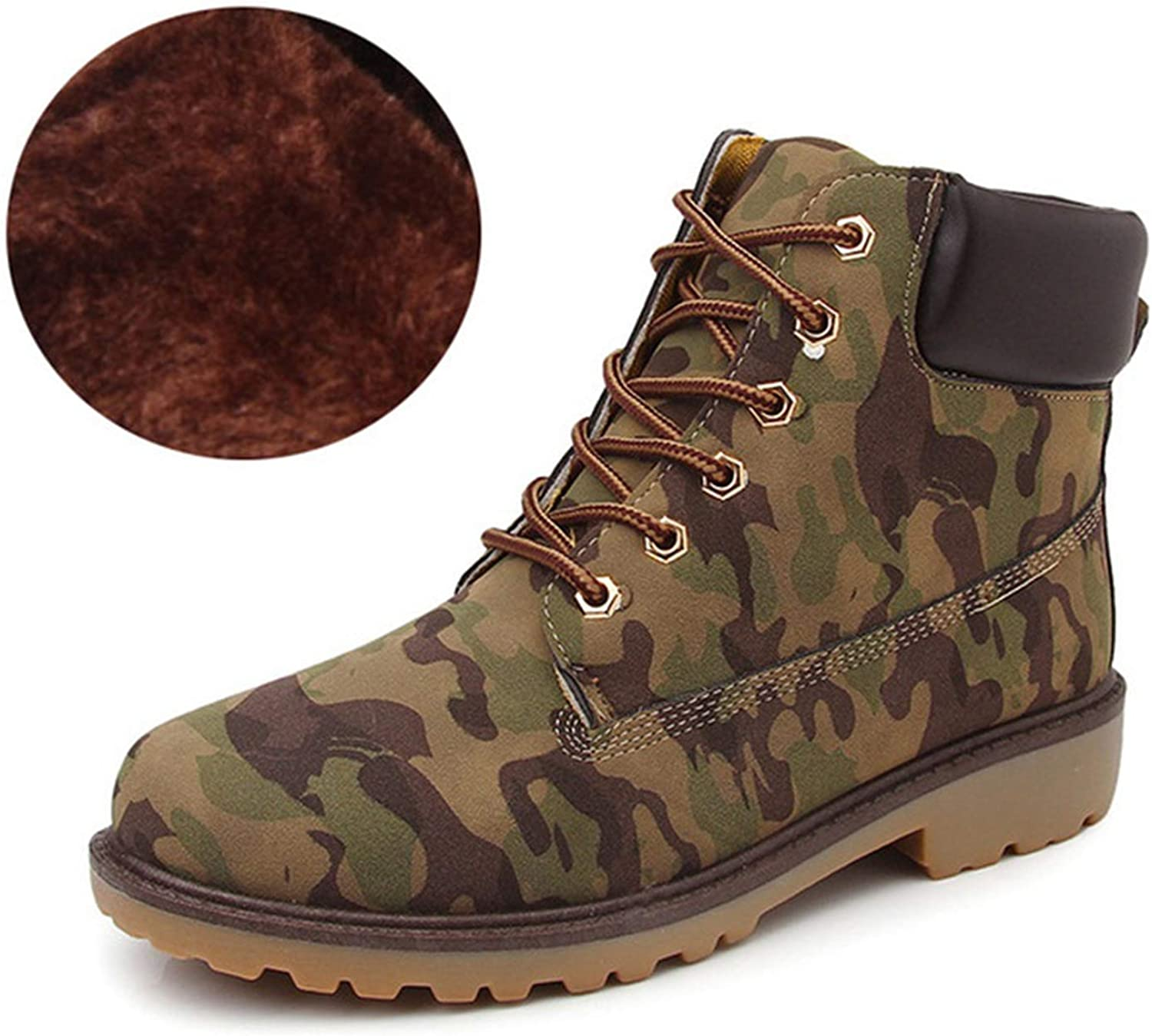 Welcometoo Unisex Martin Boots Women Lace-Up Mens shoes Plush Warm Fashion Casual Couple Rubber Ankle Boots