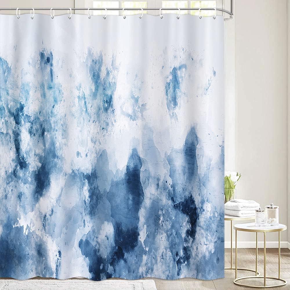 Watercolor Blue Shower Curtain for Bathroom, Abstract Cold Blue Grey Aesthetic Bathroom Curtains, Aesthetic Gray White Decor Bathroom Sets, Waterproof Cloth Fabric Bathtub Curtain 72X72 Inches