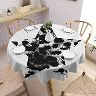 DILITECK Leopard Print Food Round Tablecloth Star with Leopard Texture with Grunge Effect Hipster Geometrical Design Wrinkle Free Tablecloth Diameter 50