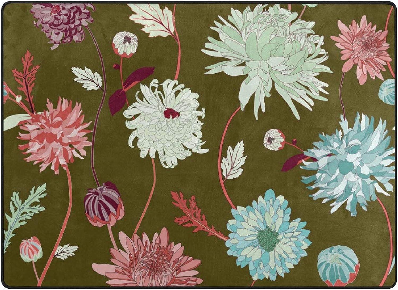 Vantaso Soft Foam Nursery Rugs colorful Asian Flower Dark Green Non Slip Play Mats for Kids Boys Girls Playing Room Living Room 63x48 inch