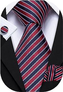 Barry.Wang Men Ties Gold Brooch Formal Silk Neckties Set with Handkerchief Cuff links Designer