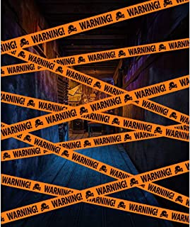 Halloween Warning Caution Tapes Party Outdoor Decoration Orange Barrier Tape Skull Decorate for Crime Scene Pranks Trick Treat Party Haunted House Props Bloody Zombie Indoor Decor Supplies