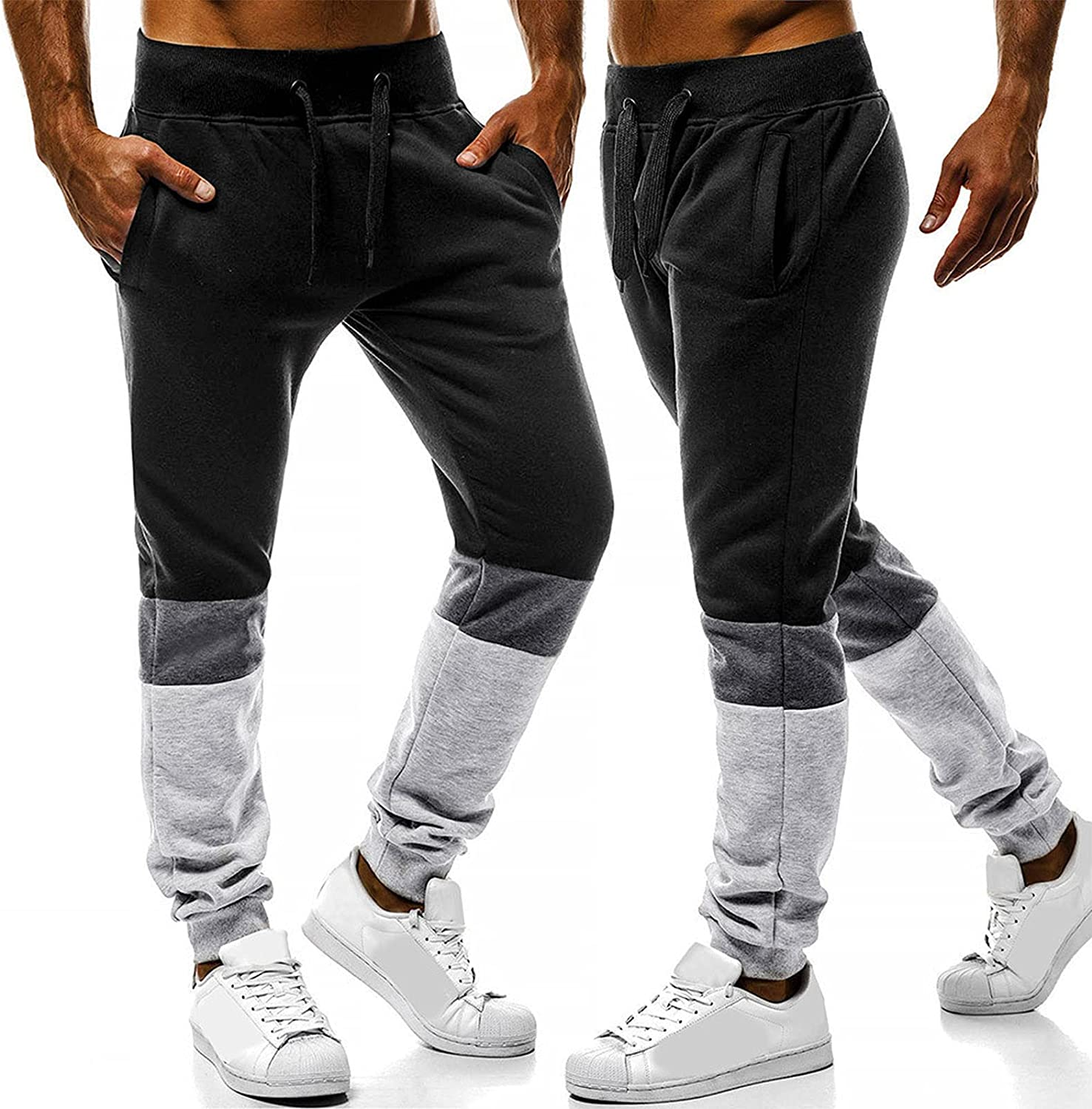 Huangse Men's Autumn Fashion Color Contrast Sport Trousers Casual Patchwork Athletic Workout Fitness Trousers with Drawstring