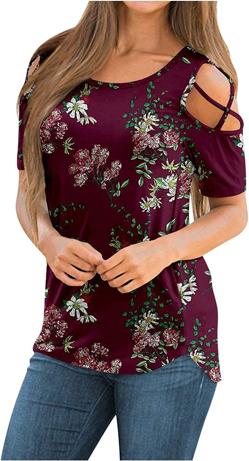 Summer Tops for Women,Womens Summer T Shirts Short Sleeve Tunic Strappy Cold Shoulder Rounded Neck Tee Tops