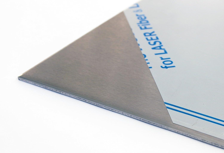 Avec film dun seul c/ôt/é Largeur : 100 mm. L/änge in mm: 100 Jusqu/à 1000 x 1000 mm T/ôle dacier inoxydable V2A 1.4301 K240-1,5 mm Acier inoxydable