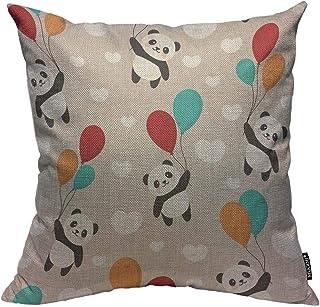 Mugod Cartoon Panda Throw Pillow Cover Happy Cute Panda Flying in The Sky Between..